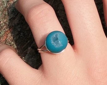 Crescent Druzy Agate Ring