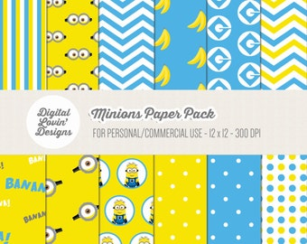 INSTANT DOWNLOAD - 12 Minions Digital Papers for Scrapbooking, Crafts, Invitations for Commercial and Personal Use