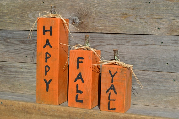 Happy Fall Yall Rustic Fall Decor Orange Wooden Pumpkins Handmade Reclaimed Barn Wood Block Set Country Thanksgiving Autumn Primitive