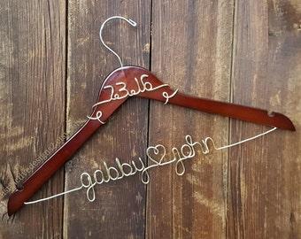 Wedding Hanger, Wedding Dress Hanger, Name Hanger, Bride Hanger, Bridesmaid Hanger, Personalized Hanger, Bridal Gift, Mrs Hanger