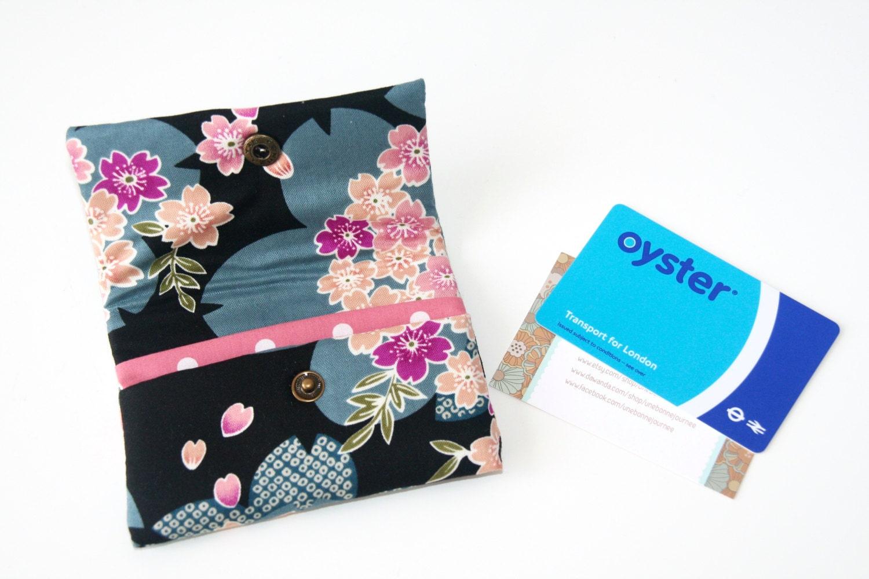 Pink Sakura Japanese Fabrics Handmade Business Card Holder// Card ...