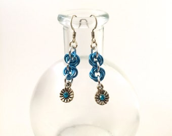 Colorful Chainmaille - Cornflower Blue Rosette Earrings