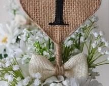 Burlap Heart Table Numbers, Rustic Wedding Table Numbers, Shabby Chic Table Numbers, Reception Table Decor