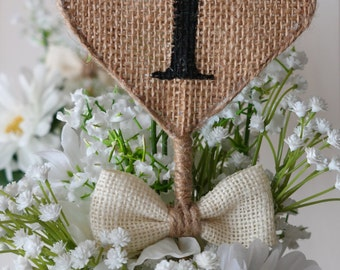 Burlap Heart Table Numbers, Rustic Wedding Table Numbers on Stick, Shabby Chic Table Numbers, Reception Table Decor