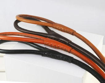 Handstiched round leather leash, available in 6 colors, FREE shipping