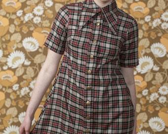 Rasha Swais 1960s Skinhead/Mod Grey Check Button Front Dagger Collar mini trapeze dress.