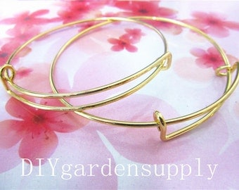20pcs 1.5mm Thickness 65mm Gold plated round bangle bracelets wires--size adjustable