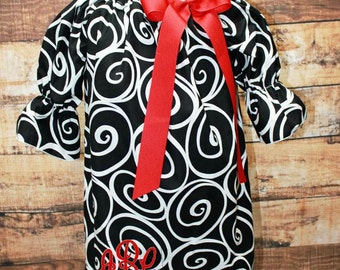 Black Swirl Dress,Girls Monogram Dress,Black Girls Dress, Black Peasant Dress,Embroidered Dress