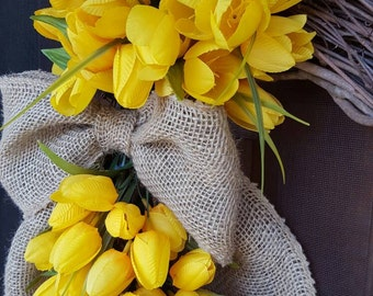 Tulip Grapevine Wreath Yellow Tulips Spring Summer Wreath