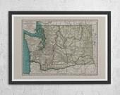 WASHINGTON STATE MAP - Vintage Map of Washington State - Antique Map Print, Vintage Washington Map, Old Washington Map