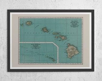 HAWAII MAP PRINT - Vintage Map of Hawaii - Hawaii Islands Map, High Quality Reproduction, Vintage Hawaii Map