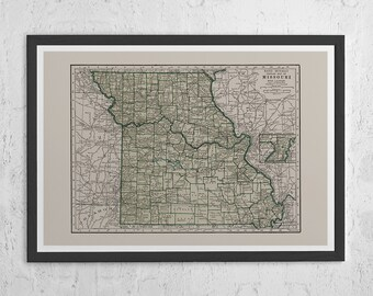 Missouri Map Etsy - Missouri state map usa