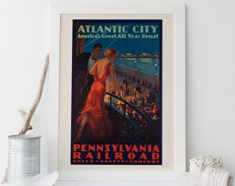 atlantic city travel poster art deco travel poster 1930s travel poster train travel poster new jersey poster ribba usa travel poster