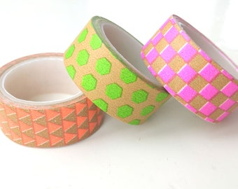 Set of 2 patterned kraft tapes with fluorescent details