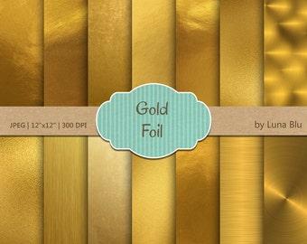 "Gold Foil Digital Paper: ""Metallic Gold Paper"" Gold Scrapbook Paper, Gold Foil Paper, Gold Backgrounds, Gold textures, brushed metal"