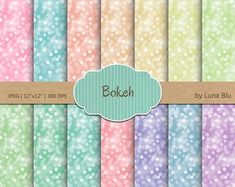 "Bokeh Digital Paper Pack: "" Bokeh Background"" rainbow, pastel bokeh textures, for Personal and Small Commercial Use, Instant Download"