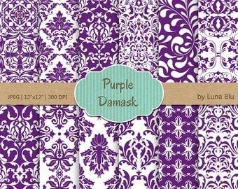 "Purple Damask Digital Paper: ""Purple Damask Patterns"" purple digital paper, for cardmaking, invitations, purple scrapbooking paper"