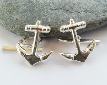 Handmade Solid Silver Anchor Cufflinks, Nautical Themed Gift, Christmas Gift, Fathers Day, Uk Seller.