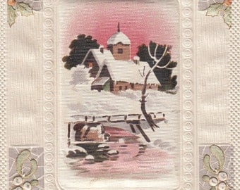 Beautiful New Year Antique Postcard,Silk Inset, Gorgeous All Around Embossing, Must See!