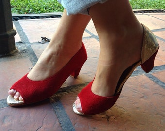 Low heel shoes / Leather handmade red and pink shoes / woman low heel shoes red and pink leather / Model Jackie