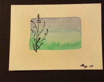 Watercolor Greeting Card, Watercolor Card, Silhouette Note Card, Blank Greeting Card, Watercolor Floral Greeting Card, Handmade Card