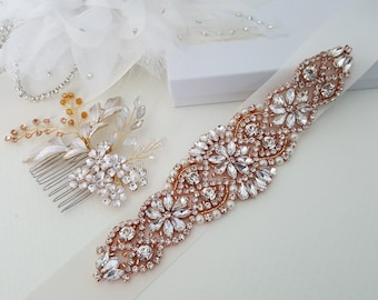 Rose Gold Wedding Accessories, Rose Gold Bridal Accessories, Rose Gold Bridal Belt, Rose Gold Bridal Hair Comb