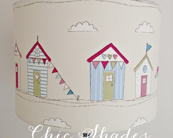 Pink Seaside Nautical Beach Hut Fabric Lampshade