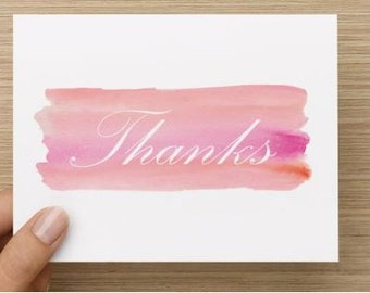 Thank you card: Personally designed pink watercolor thank you.  Package of 10, 20, or 30