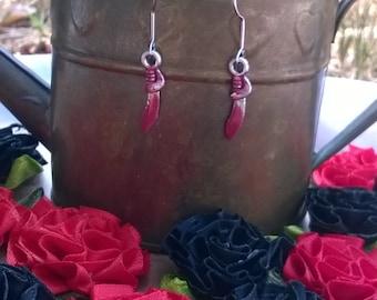 Bloody knife earrings, Halloween earrings,lightweight, hand painted.