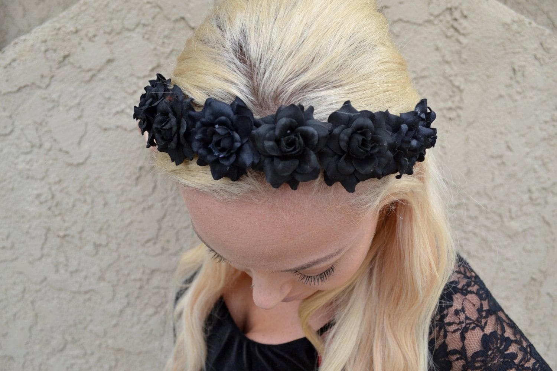 All Black Rose Headband Black Flower Headband Gothic