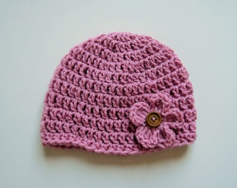 Handmade Crochet Baby Hat in Pale Rose with matching Flower & wooden Button, Photo Prop, Baby Girl Hat, Made to order, Many Colour Available