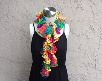 Ruffle Crochet Scarf, Neon Ruffle Scarf, Rainbow Crochet Scarf, Bright Crochet Scarf, Multicolor Ruffle Scarf, Colorful Crochet Scarf
