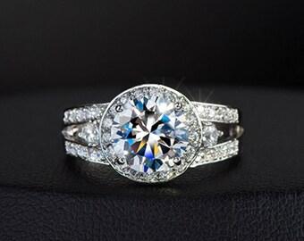 Woman's Eternity Diamond Round Circle Halo Cut White Gold Wedding Band Engagement Stacking Ring