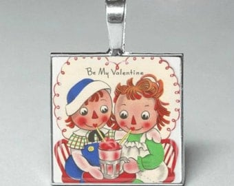 Vintage style Raggedy Ann and Andy Valentine glass tile pendant necklace jewelry