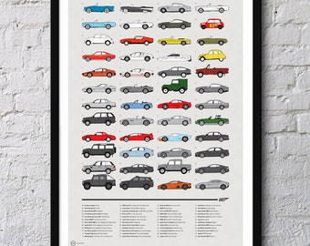 Cars of 007 James Bond Poster