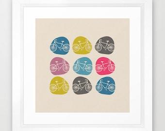 square, bike art print, bicycle art print, Giclee Art Print, Mint, archival art print, wall art, illustration, print
