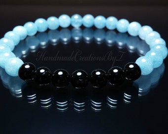 Black Tourmaline & Angelite Bracelet, Blue Gemstone, Wrist Mala, Prayer, Meditation, Buddha, Yoga Men Women Crystal Jewelry