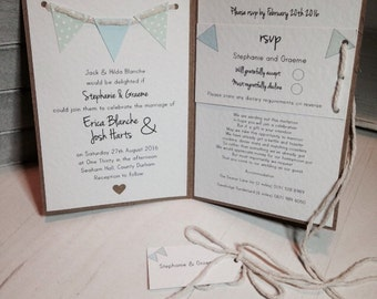Vintage Bunting Wedding Invitation Handmade