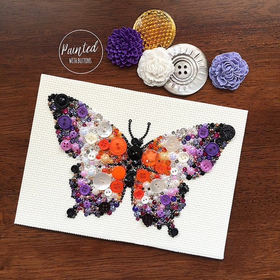 Vintage Button Wall Decor : Butterfly button art vintage artwork wall