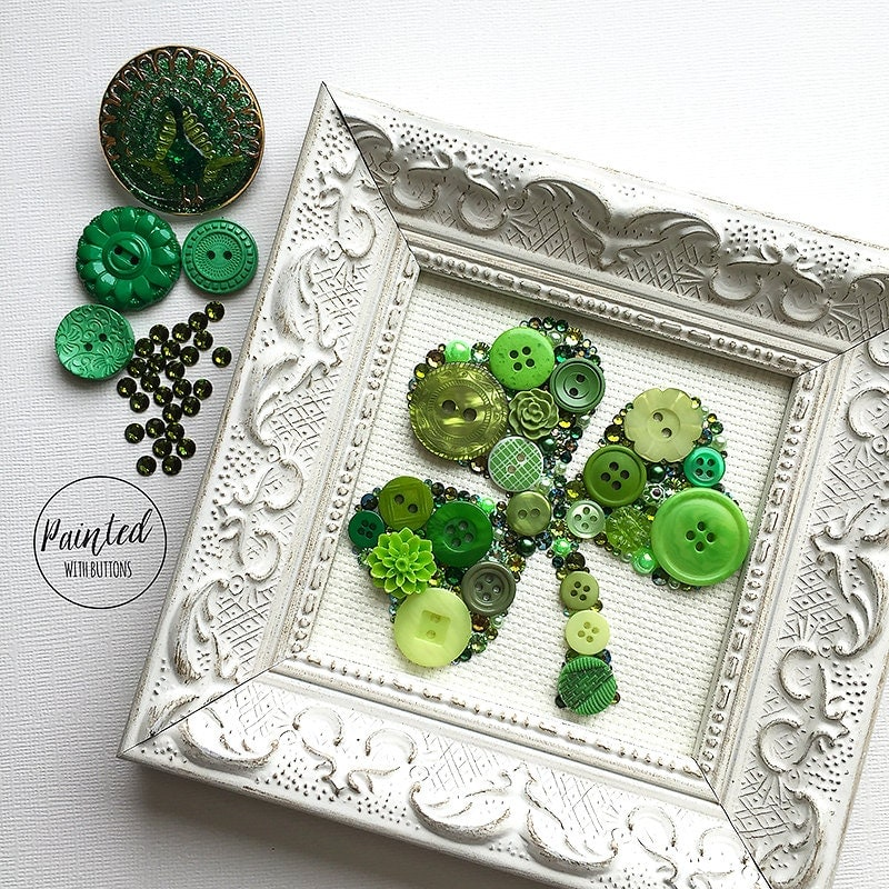 Vintage Button Wall Decor : Button art shamrock vintage buttons wall hanging