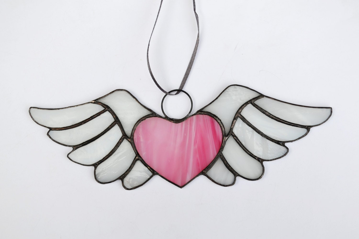 Heart with wings Pink winged glass Stained glass heart - photo#14