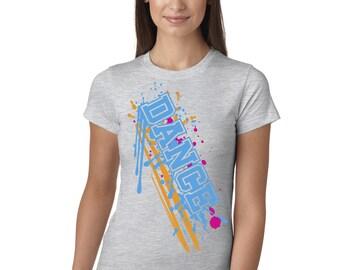 Dance Paint Splash Grey Juniors Longer Length T-Shirt