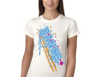 Dance Paint Splash White Juniors Longer Length T-Shirt