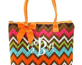 """Personalized Quilted Chevron Print Tote with Detachable Bow - Large 12"""" Multicolor Tote with Orange Accents - MGR1515-OR"""