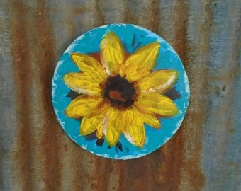 Sunflower Painting on a Cheese Crate! Original Acrylic Painting on Wood!  Cottage, Country, Praire Decor