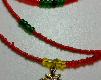 Rasta Red Yellow Green Gold Leaf  and shell waist beads 420 jewelry body jewelry body chain belly beads