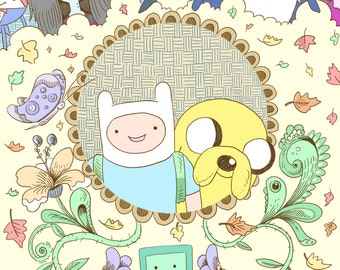 Adventure Time print - recycled paper