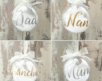 Christmas tree decorations, Christmas Keepsake, Christmas Bauble, Christmas gift, Memorial Bauble, personalised bauble