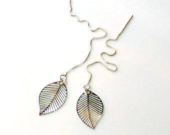 Leaves Ear Thread Earrings Sterling Silver Threader Earrings, Minimal Earrings, Long Chain Earrings, Leaves Dangle Earrings, Gift under 25