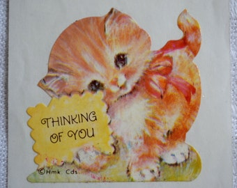 Vintage Sticker - Thinking of You Kitten - 4